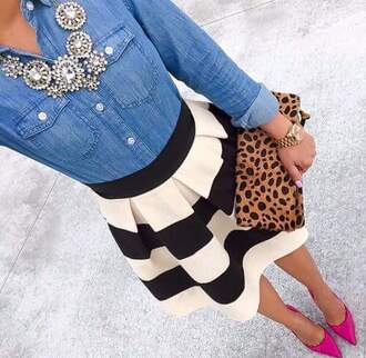 animal print bag striped skirt denim shirt statement necklace pink heels office outfits date outfit gold watch cute outfits outfit idea elegant bag animal print leopard print leopard print bag clutch