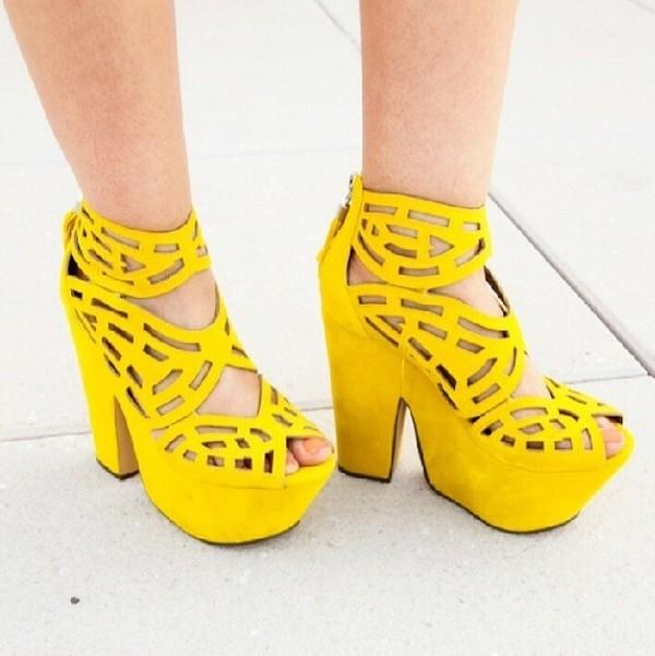 shoes yellow mustard cork heels wedges