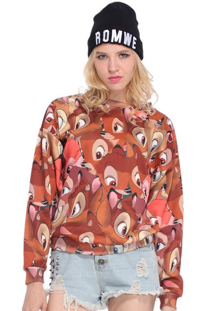 ROMWE | Plentiful Bambi Printed Sweatshirt, The Latest Street Fashion