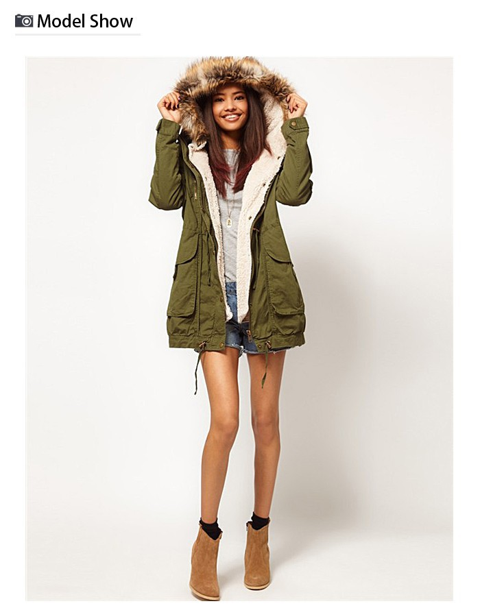 Free Shipping 2013 Hot Sale Women's Winter Fashion Army Green Cotton Padded Fur Lining Warm Parka Coat, Jacket With Hat 8370-in Down & Parkas from Apparel & Accessories on Aliexpress.com