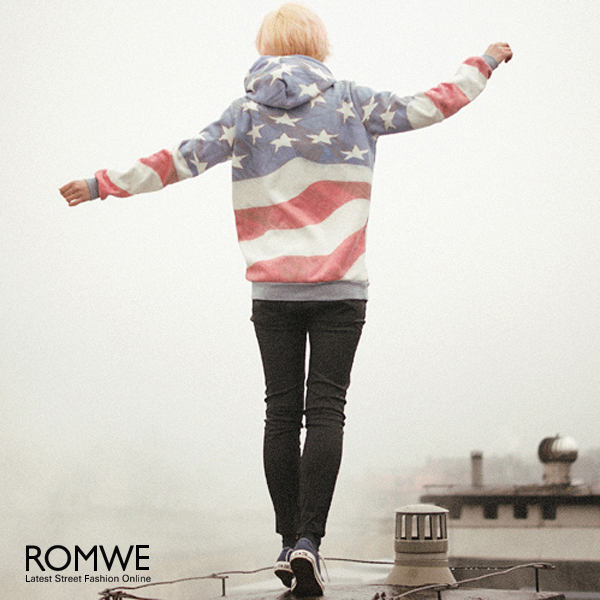 ROMWE   Flag Print Hooded Sweat Hoodie, The Latest Street Fashion