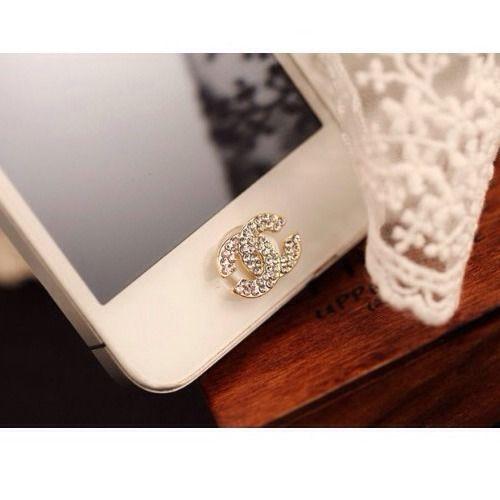 iPhone Chanel Designer Bling Rhinestone Fashion Home Button Sticker 3 4 5 Series | eBay