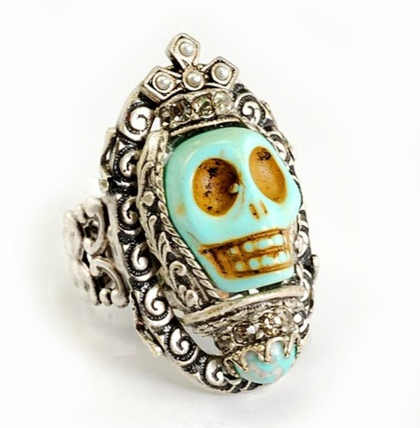 jewels skull ring boho rad cute mint dia de los muertos turquoise skull ring