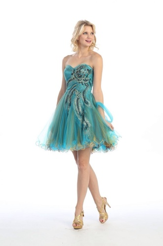 dress peacock dress blue teal prom dress short dress peacock