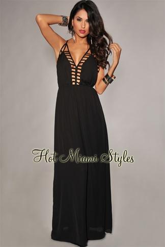 Black Cut-Out Accent Low Back Maxi Dress