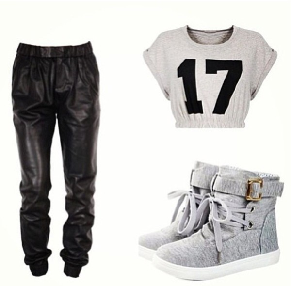 shoes jeans shirt lether