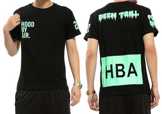 Fashion HBA Hood by Air X Been Trill Green Print Short Sleeve Top Tee Shirts Men's T Shirts Kanye West-in T-Shirts from Apparel & Accessories on Aliexpress.com