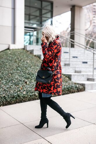 the courtney kerr blogger coat jeans shoes bag sunglasses jewels red coat winter outfits boots thigh high boots