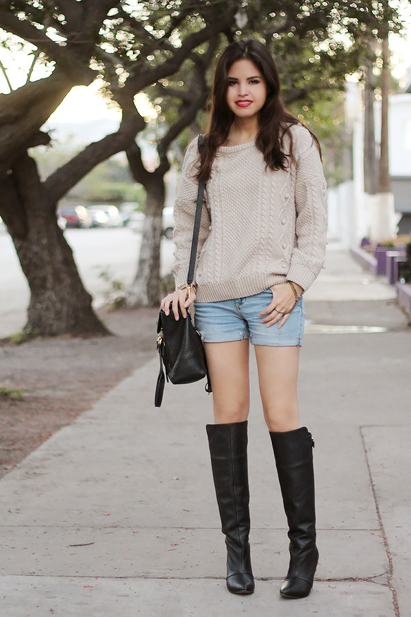 fake leather sweater shorts shoes jewels