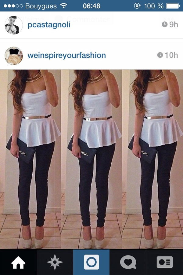 blouse white peplum top belt gold