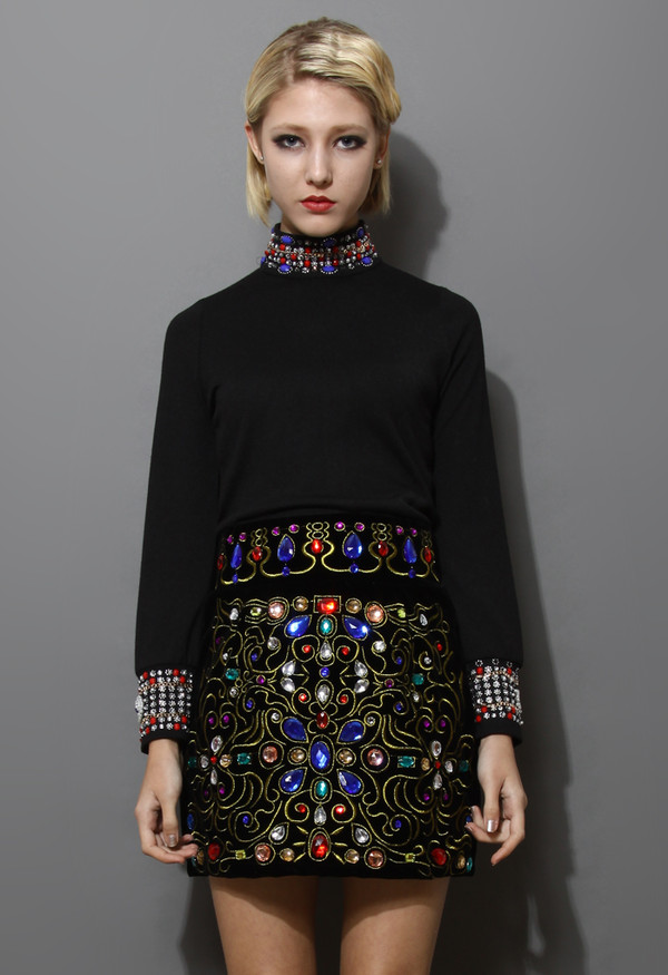 blouse beaded crystal embellished polo neck top
