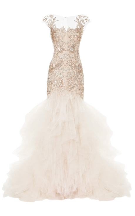 Metallic Threadwork Tulle Fishtail Gown by Marchesa for Preorder on Moda Operandi