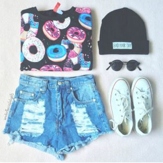 shirt shorts hat sweater nail accessories t-shirt top tank top shoes denim shorts converse beanie black sunglasses donut colorful jeans bad hair day beanie palm tree print blouse bad hair day hat donut sweater hair accessory donut shirt cute white teenagers girly high waisted shorts crop tops white sneakers
