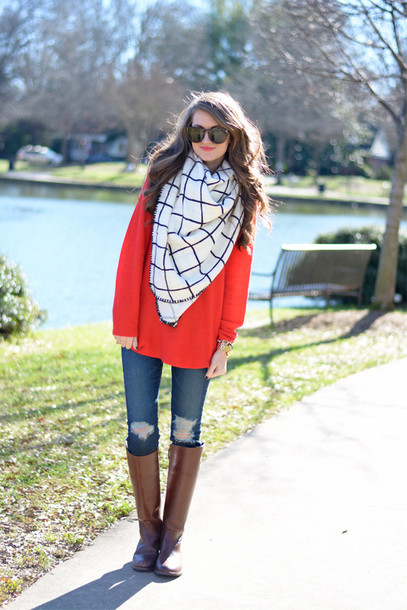 southern curls and pearls blogger scarf sunglasses make-up top checkered red sweater ripped jeans brown leather boots