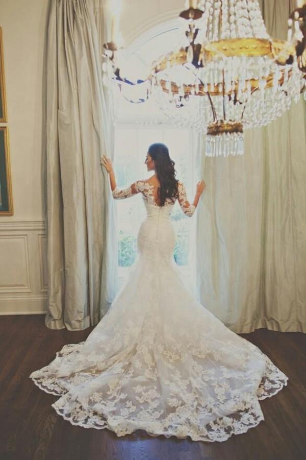 dress wedding dress white dress wedding long wedding dresses long sleeve lace dresses lace wedding dress princess wedding dresses wedding clothes