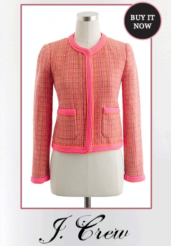 Bethenny Frankel's Neon Pink and Coral Bouclé Tweed Jacket | Closet Cravings Closet Cravings