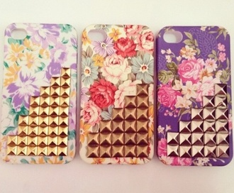 jewels iphone floral studded studs colorful iphone cover iphone case
