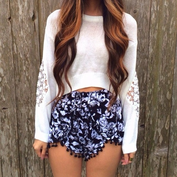 shorts floral High waisted shorts sweater blouse top pants black white cute shirt pullover lace cut-out flowy shorts