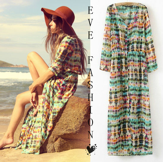 New & Fashion Multi Color Dip Dye Shirred Waist Chiffon Long Cardigan Shirt Blouse Maxi Dress Bikini Cover 307-in Blouses & Shirts from Apparel & Accessories on Aliexpress.com