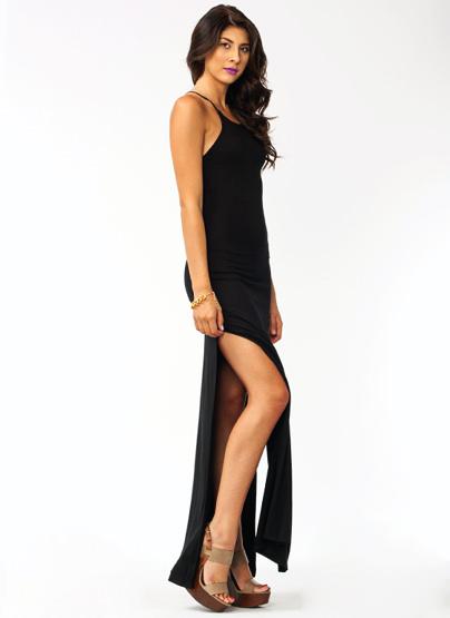 GJ | Open Sesame maxi Dress $43.60 in BLACK BURGUNDY - Maxi Dresses | GoJane.com