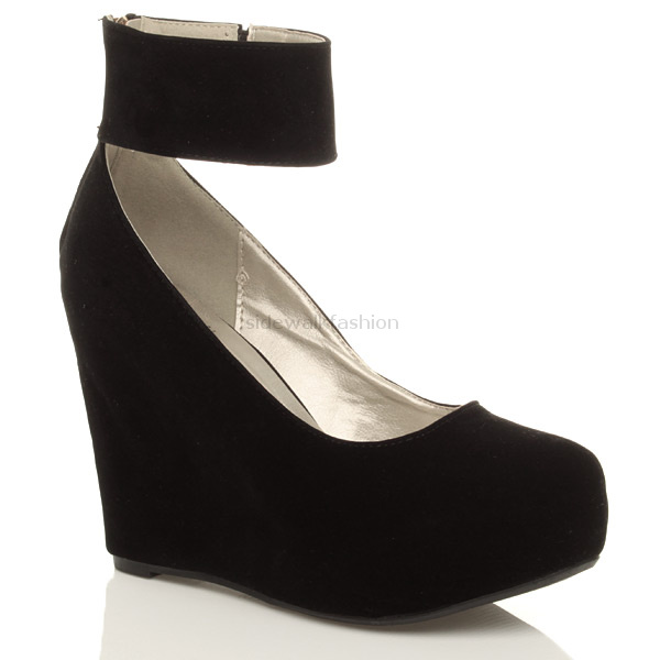 WOMENS LADIES GOLD ZIP ANKLE STRAP HIGH BLACK WEDGE PLATFORM SHOES BOOTIES SIZE | eBay