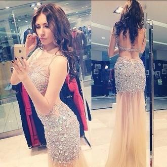dress jovani prom dress prom dress prom mesh cut-out fishtail fishtail dress long dress embellished beaded diamanté nude