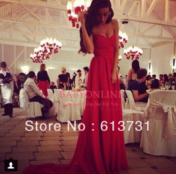 Sexy Sweetheart Chiffon Red Prom Dresses 2014 New Arrival Long Formal Evening Gowns BO3575-in Prom Dresses from Apparel & Accessories on Aliexpress.com