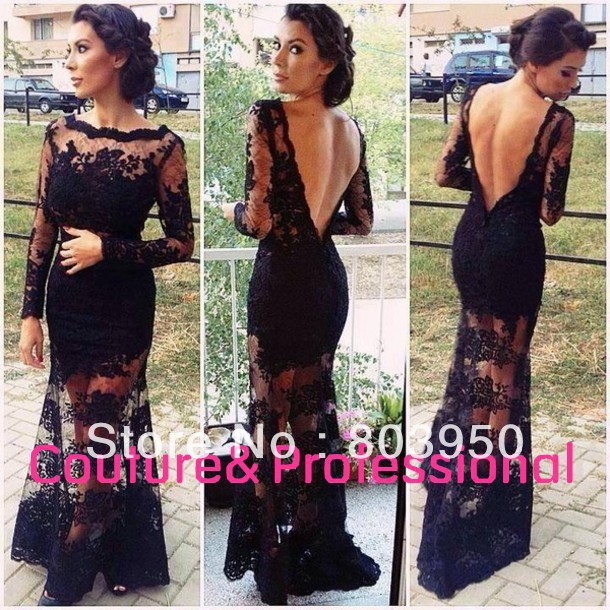Real Sample Sexy Black Lace V Back Mermaid See Through Evening Dresses With Long Sleeves Women Prom Party Dresses Lace DY0905-in Evening Dresses from Apparel & Accessories on Aliexpress.com