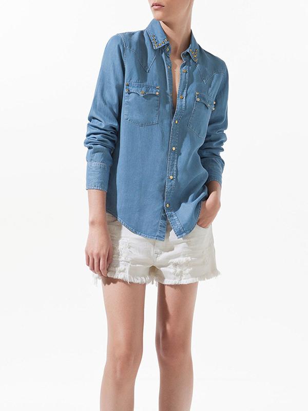Column Denim Rivet/Buttons Plain Shirt  : KissChic.com