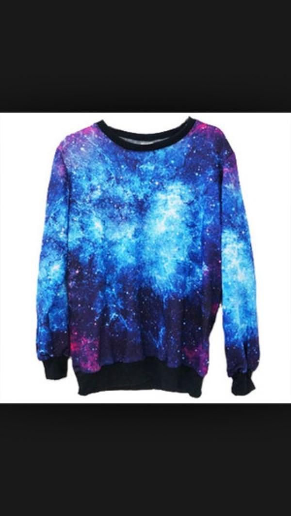 sweater galaxy print cute blue purple lovely