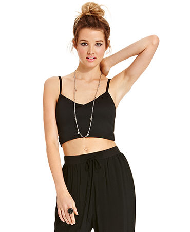 Material Girl Juniors' Spaghetti-Strap Cutout Cropped Top - Juniors Tops - Macy's
