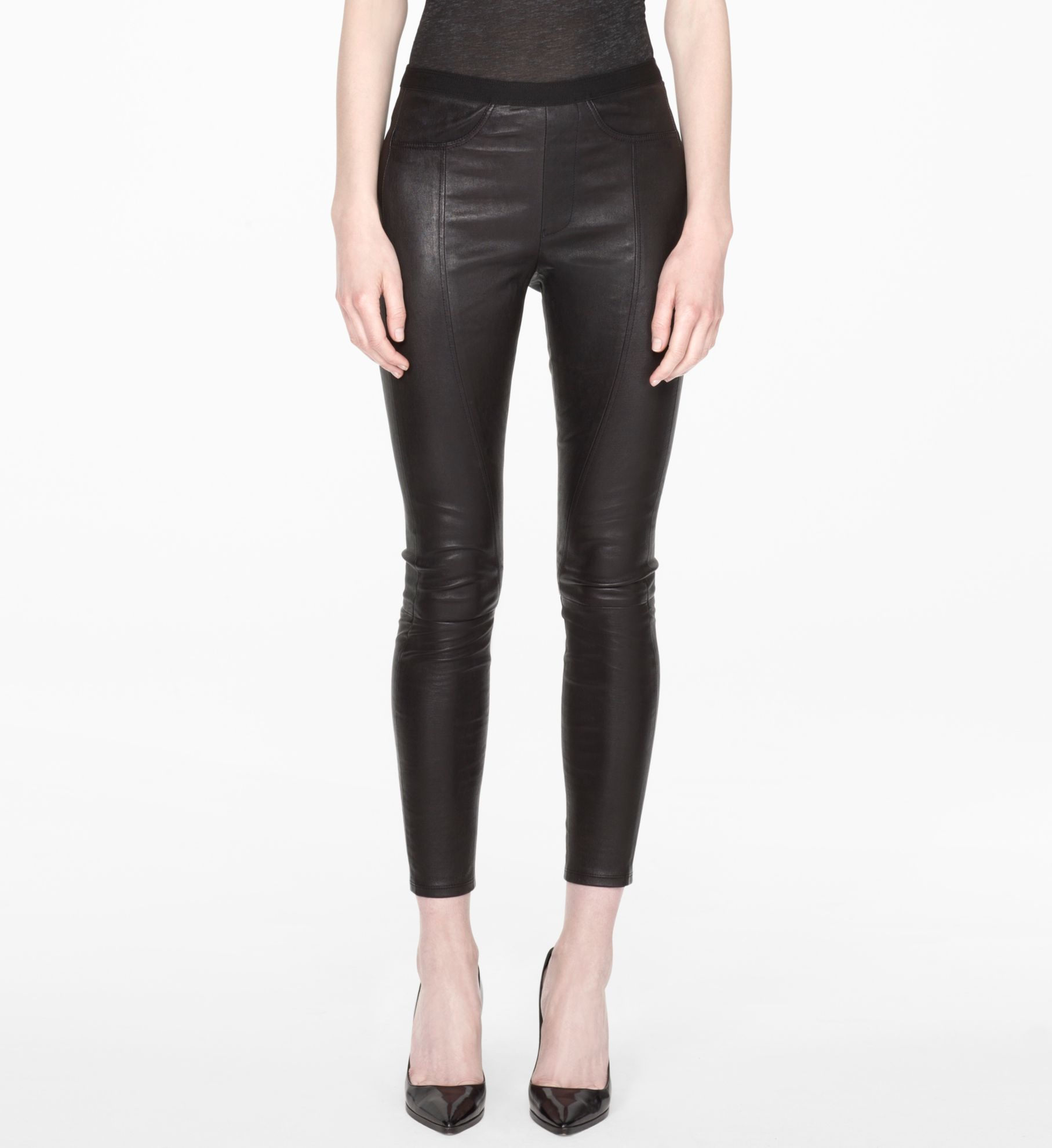 WOMEN'S PANT - CROPPED ZIP LEATHER PANT - HELMUTLANG.COM