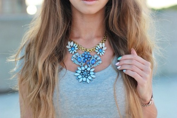 jewels statement statement necklace necklace blue necklace jewelery accessories blue stone necklace floral flowers