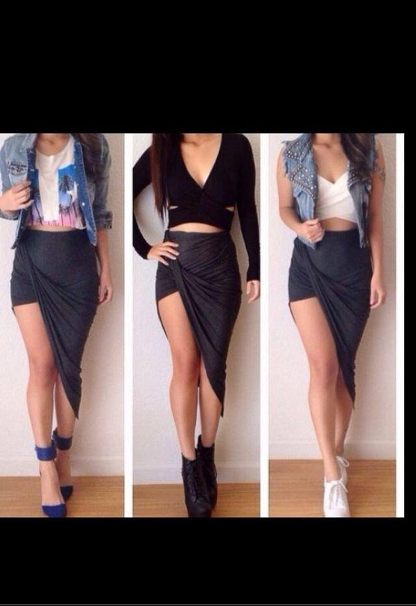skirt denim jacket high heels jewelry shoes bustier shirt t-shirt nike jacket
