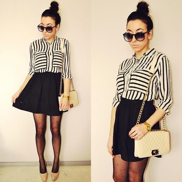 shirt striped shirt skater skirt crossbody bag polka dots gold bag tights
