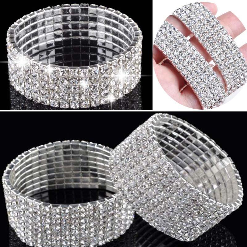 Hot  Fashion 4/5/8 Rows Crystal Rhinestone Wedding Bridal Bracelet Bangle Bling Wristband Women Jewelry Free SHip-in Charm Bracelets from Jewelry on Aliexpress.com
