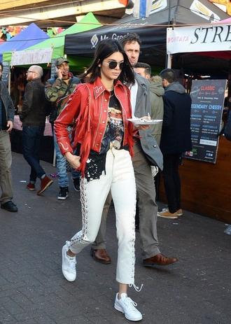 pants lace up sneakers jacket kendall jenner kardashians london fashion week 2017 fashion week 2017