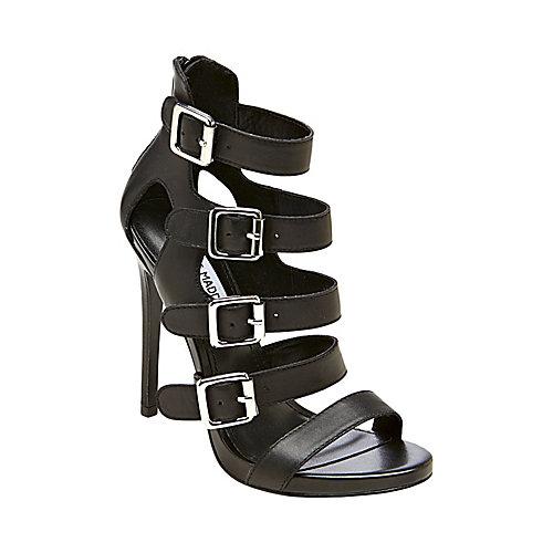 RECITAL BLACK LEATHER women's dress high ankle strap - Steve Madden
