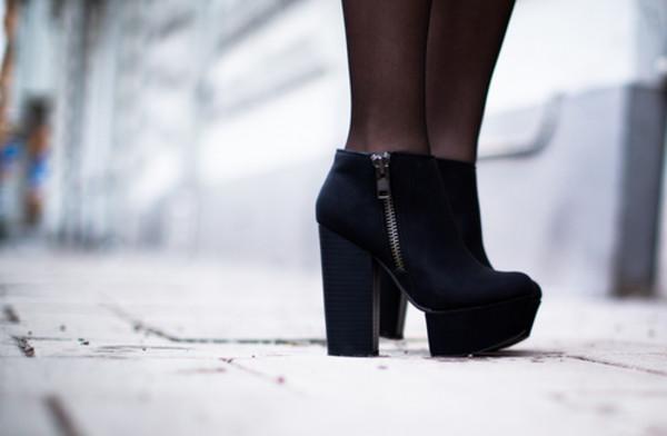 shoes heels black platform shoes