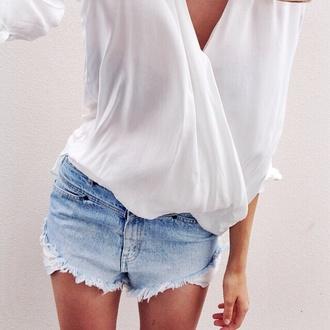 blouse stylish v neck perfect shirt white jeans boho chic summer low v neck white blouse zara bluse fashion blogger style