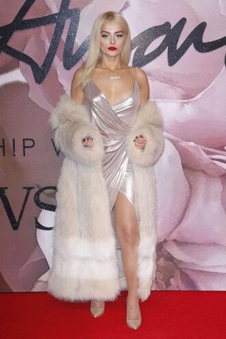 dress silver metallic wrap dress fur fur coat bebe rexha