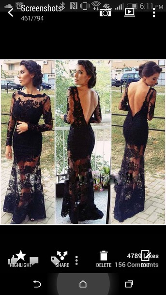 dress black dress long long dress lace dress
