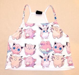 pokemon jigglypuff chansey clefairy top shirt jiggly puff crop tops