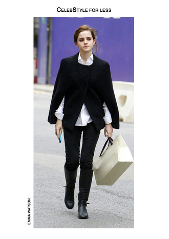 celebstyle for less emma watson cape white shirt black jeans knee high boots phone cover black boots winter outfits