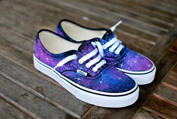 Galaxy Vans shoes van BStreetShoes op Etsy