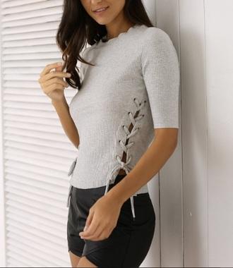 blouse knit grey lace up