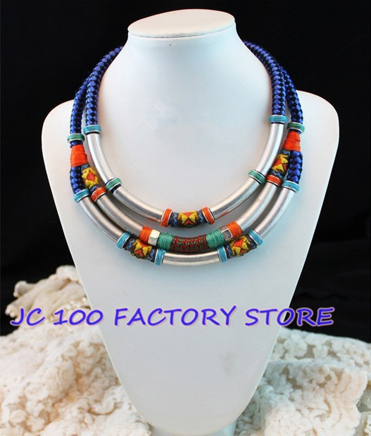 TRIPLE COMBINATION NECKLACE IN METAL AND TRIBAL STYLE FABRIC,New items!High quality,Free Shipping!-in Choker Necklaces from Jewelry on Aliexpress.com