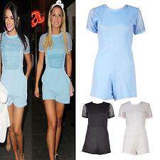 Ladies Women Celeb Style Fish NET Lace Front Michelle Fittet Playsuit Dress TOP | eBay