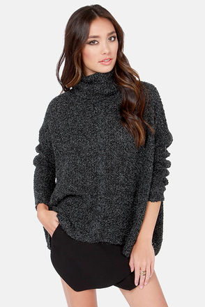 Cute Black Sweater - Grey Sweater - Cowl Sweater - Turtleneck Sweater - $49.00