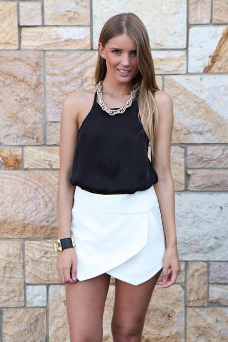 White Shorts - White Asymmetric Layerd Front Skort | UsTrendy